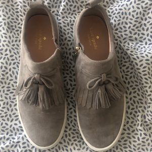 Kate Spade Grey Tassel Slip On Sneakers Sz 7.5